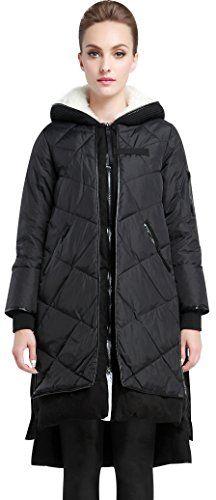6db818b8236c Ilishop Women s Thickened Winter Coat Slim Long Down Jacket with Hood Bl.