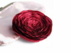 Red Flower brooch Fabric brooch Fabric Flower by JKWJewellery, $12.90