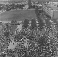 Crowd gathers to hear Eugene McCarthy speak, May 23, 1968 :: CSUN University Archives