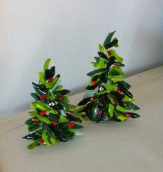 christmas trees from scrap glass