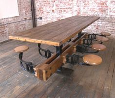 Vintage Industrial Cast Iron & Wood Swing Out Seat Table