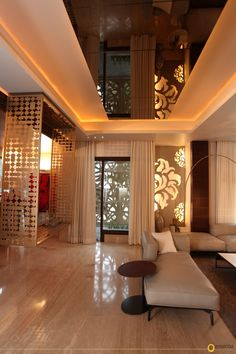 Metal screens add intrigue both to the indoors and outdoors. Executed essentially for the Essentia show home. Designed and styled by Monica Chawla . Home Interior Design, House Design, Home Furniture Online, Pooja Rooms, Interior Design, Pop False Ceiling Design, Home, Trendy Interior Design, Bedroom Design