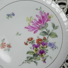 Antique-KPM-Floral-Plate-Reticulated-Rim-Gold-Gilt-Bows-10-w-Chip