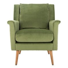 Safavieh Furniture - Fashion-forward and endlessly chic, the mod style of this mid-century armchair elevates any living room. Welcoming and cozy, its luxurious velvet upholstery pops with its vibrant olive hue. The natura. Green Accent Chair, Velvet Accent Chair, Velvet Armchair, Accent Chairs, Upholstered Arm Chair, Chair Upholstery, Mid Century Armchair, Chair Types, Wood Dust