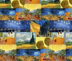 A compilation of Van Gogh paintings in Fabric design. myb