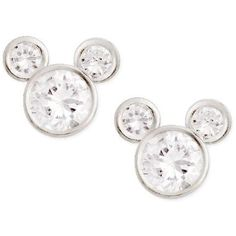 Disney Cz Mickey Mouse Stud Earrings Sterling Silver (1.465 RUB) ❤ liked on Polyvore featuring jewelry, earrings, cz earrings, disney, cz jewelry, sterling silver jewelry and sterling silver cz earrings