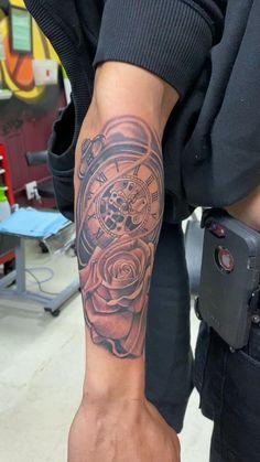 Half Sleeve Tattoos Sketches, Half Sleeve Tattoos Forearm, Forearm Band Tattoos, Half Sleeve Tattoos For Guys, Forarm Tattoos, Cool Tattoos For Guys, Dope Tattoos, Tattoo Sleeve Designs, Clock And Rose Tattoo