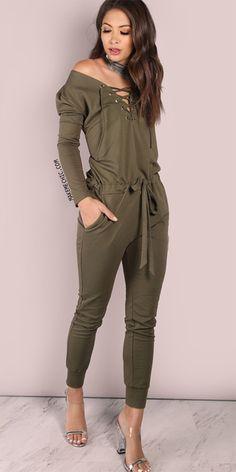 acb55998900 Oversized Open Shoulder Jumpsuit Olive Olive Jumpsuit