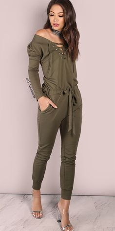 a646bdeabb4 Oversized Open Shoulder Jumpsuit Olive Olive Jumpsuit