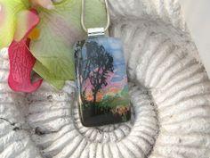 Dichroic Glass Pendant - Dichroic Fused Glass Jewelry -  Sunset Tree - Pendant - 021412p103. $28.00, via Etsy.