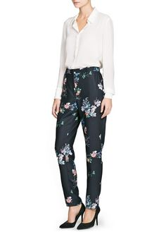 Belted floral print trousers   Mango