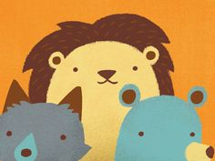 Dribbble - Lions and foxes and bears by Emily Dove Gross