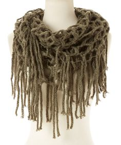 Look what I found on #zulily! Olive Fringe Knit Infinity Scarf #zulilyfinds