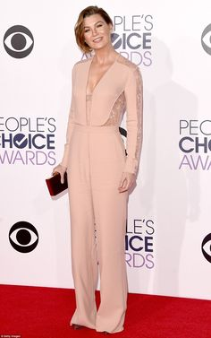 A bright look for a winter night: The Grey's Anatomy actress looked fresh as a peach in a lace-accented pantsuit