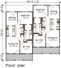 Bungalow Multi-Family Plan 72782 Level One
