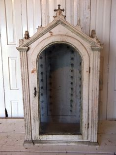 "Wooden 1880's Painted Nicho. Hungary. Original Paint. 39"" H x 21""W x 12"" D…"
