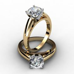 ring champagne diamond solitaire 1.25 carat | Rounded Cathedral Solitaire Diamond Engagement Ring