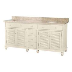 Cottage 72 in. Vanity in Antique White with Granite Vanity Top in Mohave Beige and 2 Undermount Sinks in White