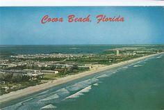 Vintage Postcard Cocoa Beach FL aerial 1970