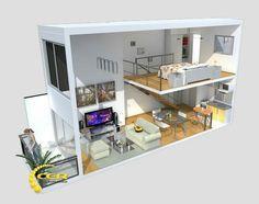 Ideas for bath room design tiny loft Loft House, Sims House, Loft Design, Design Case, Home Design Plans, Home Interior Design, Tiny Loft, Appartement Design, Apartment Layout