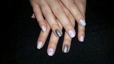 Pink white silver snowflake