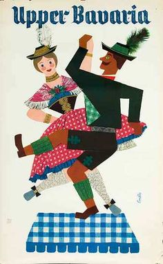 Upper Bavaria Original Vintage German Travel Poster dancing couple