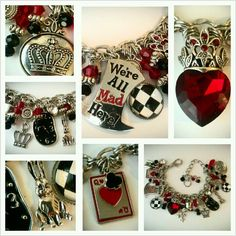 """""""Alice in Wonderland"""" charm bracelet...featuring detailed charms in antiqued silver finish, (Mad Hatter's Hat, deck of cards, the white rabbit, Queen of Hearts/crown, castle, clock...all with a black/white/red color scheme. Super cute!"""