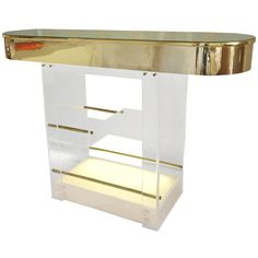 Lucite and Brass Bar Illuminated Base c.1980 at 1stdibs