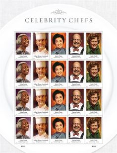 Julia Child and other celebrity chefs honored on new stamps ~ Celebrity chef stamps