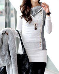 Stylish Women's Turn-Down Collar Rivet Embellished Long Sleeve T-Shirt (WHITE,L) | Sammydress.com Mobile