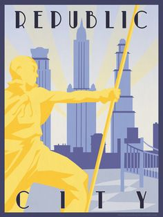 Republic City Travel Poster Art Print-by HenryConradTaylor #Avatar #Legend_of_Korra