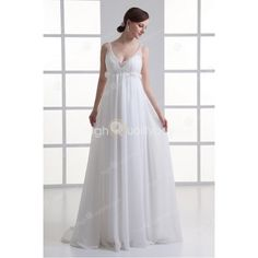 Ivory Chiffon V-neck Chapel Train A-Line Wedding Dress $148.99