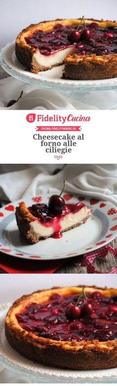 Cheesecake al forno alle ciliegie