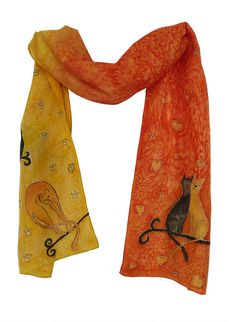 Hand Painted Silk Scarf Cats Story