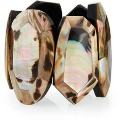 Viktoria Hayman Faceted Mother-of-Pearl Statement Bracelet (€240) ❤ liked on Polyvore featuring jewelry, bracelets, leopard, statement bangles, facet jewelry, leopard print jewelry, viktoria hayman and mother of pearl jewelry
