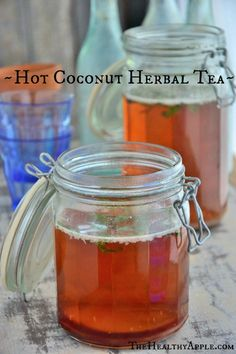 Hot Coconut Herbal Tea -- just makes you want to curl up with a cozy cup! Stevia is an easy swap for the honey here.