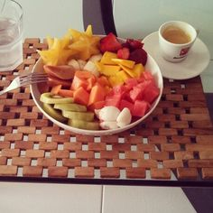 Breakfast with Brazilian fruit and Italian espresso