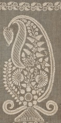 Lucknow Chikan Shawl  India Lucknow Late 18th/ early 19th century 85 x 286 cms (33½ x 112½ ins) Cotton, worked on a light tan ground, possibly a natural coloured cotton Embroidery; open and pulled work, satin stitch, running stitch.We have shown pictures of the shawl to Rosemary Crill at the V&A who feels the shape of the boteh makes it early 19th century, perhaps 1815.