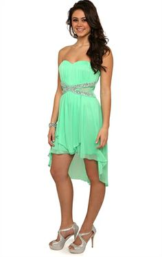 Deb Shops #Mint Strapless High Low #Prom #Dress with Criss Cross Stone Illusion Bodice  $64.90