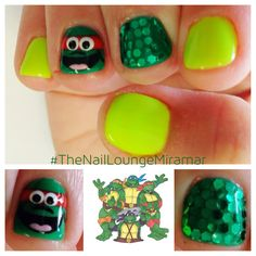 Teenage mutant ninja turtles cartoon nail art
