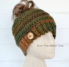 Ladies Messy Bun Hat, Ponytail Hat, Fall colors hat