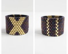 Statement Ring / Beaded Ring / 2 designs in 1 / by KaroonCreation Loom Bracelet Patterns, Bead Loom Bracelets, Bead Loom Patterns, Peyote Beading, Beaded Rings, Beaded Jewelry, Diy Leather Bows, Seed Bead Projects, Black And White
