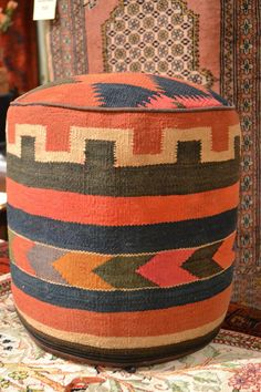 Rug Sitting Stool / Rug Ottoman / Kilim Sitting by OakParkAntiques