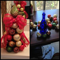 My new ornament tree- another way to use those wine bottles !! ( just I really just made this today)