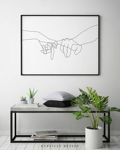 """Pinky Swear Printable, One Line Drawing Print, Black White Hands Artwork, Hand Poster, Original Minimalist Couple Art, Minimal Fine Decor. INSTANT DOWNLOAD This listing is for a DIGITAL FILE of this artwork. No physical item will be sent. You can print the file at home, at a local print shop or using an online service. INCLUDED FILES 1. High resolution JPG file in 2:3 ratio for printing the following sizes: - 4""""x6"""" - 8""""x12"""" - 12""""x18"""" - 16""""x24"""" - 20""""x30"""" - 24""""x36"""" 2. High resolution JPG fi..."""