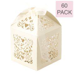 60 x Ivory Laser Cut Filigree Wedding Bomboniere Boxes   Favour Boxes   Bulk