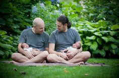 Because few things are better than two dads in matching shirts holding matching babies | Offbeat Families