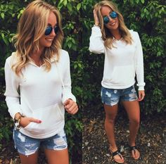 "Warm days and cool nights ☀️❤️ Rock the NEW ""white fleece hoodie"" ($39.99), ""distressed boyfriend short"" ($29.99), blue aviators ($9.99 at #statements), ""banded thong sandals black"" ($18.99) shop in store and online at www.sophieandtrey.com! #shop #sophieandtrey #freeshipping #trend #fashion #musthave"