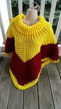 Hot Off My Hook! Project: Cowl-Neck Poncho Started: 22 Sept 2015  Completed: 26 Sept 2015 Model: Madge the Mannequin Crochet Hook(s): 7mm, Cowl portion J, Granny Stitch Yarn: Redheart Super Saver Color(s): Bright Yellow, Burgundy Pattern Source: Simply Crochet Magazine Issue No. 25 Pattern Designed By: Simone Francis Notes: This is my 29th Cowl-Neck Poncho!