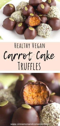 Healthy Vegan Carrot Cake Truffles - an easy no-bake cake truffle recipe that is. Healthy Vegan Carrot Cake Truffles - an easy no-bake cake truffle recipe that is gluten-free, sugar-free, paleo and SO GOOD! The perfect healthy Easter treat recipe Chocolates, Healthy Carrot Cakes, Vegan Sugar, Paleo Vegan, Snack Recipes, Snacks, Easter Recipes Healthy, Healthy Baking, Paleo Recipes